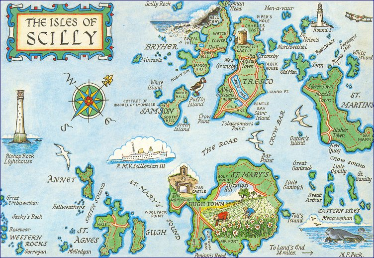 postcard map of Scilly